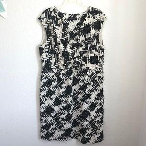 Jones New York black and white sleeveless dress 16